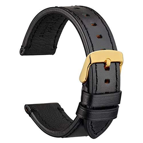 WOCCI 18mm Business Style Correa de Reloj de Cuero con Hebilla Dorada (Negro)