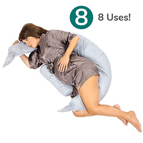 Koala Babycare® Almohada para Embarazadas para Dormir y Amamantar U Pillow con Soporte Lumbar, Cervical - Cojin Maternidad con Cordones de Seguridad - re-Ductor de Cuna y paracho-ques - KHUGS+