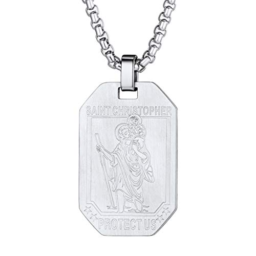 PROSTEEL Mens St Christopher Dog Tag Necklace Stainless Steel Saint Christopher Medallion Necklace for Boys