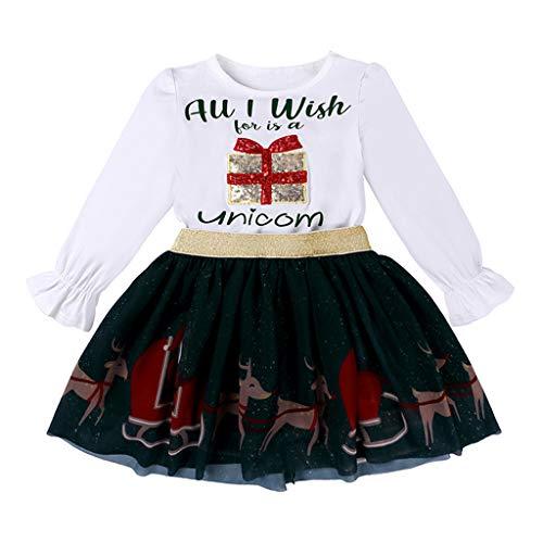 Natale Bambina Abito Elegante, 2 PCS Pagliaccetti + Gonna Vestito Costume Pigiama Invernali Bambine Natalizi Vestito Bambini Abbigliamento Ragazza Vestiti Neonata Abiti Completo (Bianco, 9-12 Mesi)