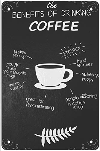 Coffee Bar Sign Decor Classic Cappuccino Hot Coffee Vintage Retro Metal Tin Sign Kitchen Wall Decor Poster 12 X 8 Inches