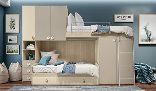 InHouse srls - Dormitorio de Puente Color Olmo y visón con Dos Camas - Sofá Cama y Cama abatible - y Armario Integrado. Altura 236 – Longitud 345 – Profundidad 86,5