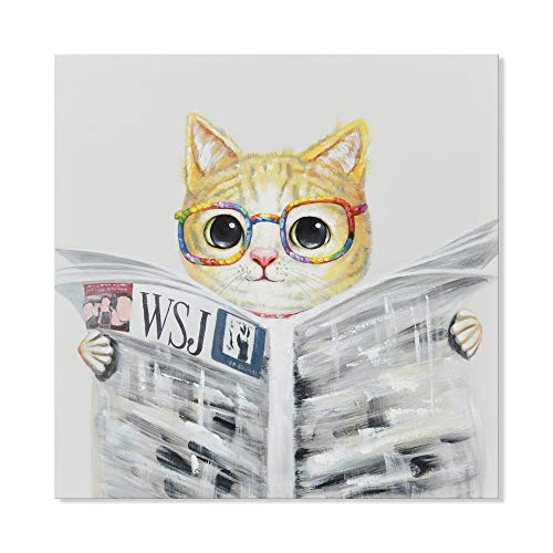 SEVEN WALL ARTS - Modern Hand-Painted Oil Painting Animal Cute Pet Cat Reading Newspaper Artwork with Stretched Frame for Kids Room Bathroom Office Home Decor 24 x 24 Inch