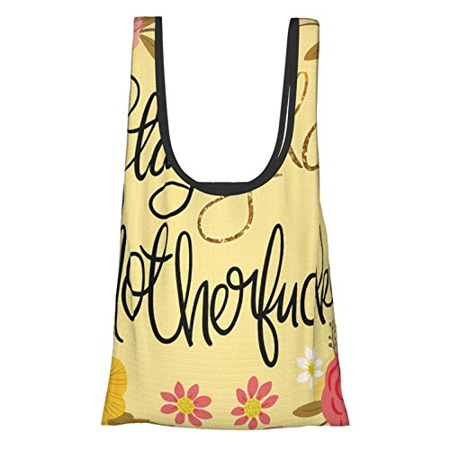 Bolsas de compras reutilizables Pretty Sweary Stay Gold Motherfer ecologico plegable bolsa de almacenamiento lavable bolsa