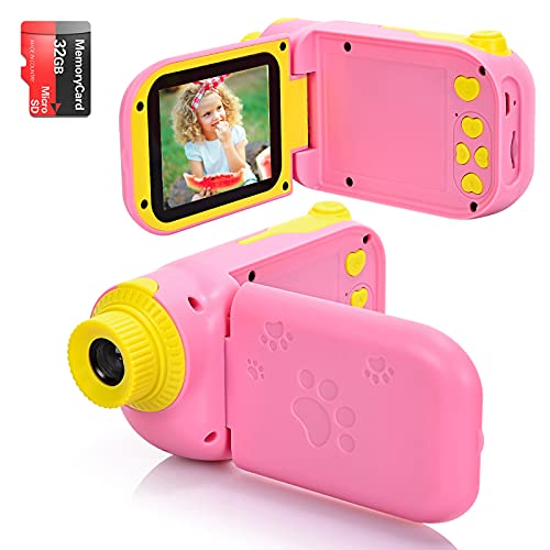 Cámara Digital para Niños Juguete para Niños Regalos Cámara De Vídeo A Prueba De Choques Pantalla HD de 2.4 Pulgadas 1080P Regalos Tarjeta TF de 32GB Regalos para Niños y Niñas de 3 a 12 Años. (Rosa)