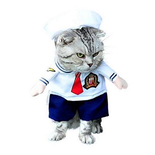 SELMAI Costume de marin avec chapeau bleu marine Cosplay pour animal de compagnie toutes saisons Blanc pour petit chien chat chiot