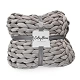 ColeyBear Weighted Hand Woven Chunky Knit Yarn Blanket for Boho Home and Bedroom Décor, Non-Shedding, Polyester Shell and Filling, Queen Size 60' X 80', 14 Lbs… (Light Grey)