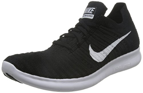 Nike Men's Free Rn Flyknit Running Shoe, Black/White, 11 D(M) US