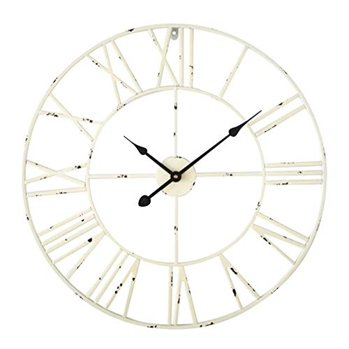 Antic by Casa Chic – Große Metall Wanduhr mit Quarz Uhrwerk – 60 cm Durchmesser – Römische Ziffern – Vintage Zeiger - Antik Weiß