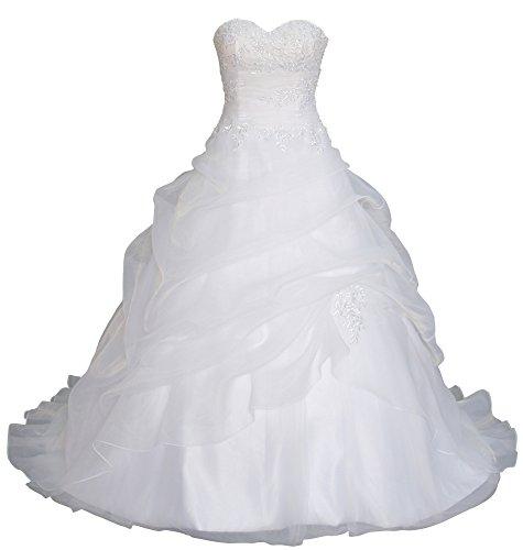 Romantic-Fashion Brautkleid Hochzeitskleid Weiß Modell W075 A-Linie Lang Satin Trägerlos Perlen Pailletten DE Größe 42