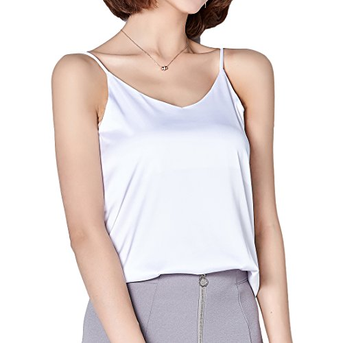 Andux Zone Camisole Unterhemd Frauen Satin Basic Full Slip V Neck Ärmellos Side Split Tops Fashion Tank T-Shirt SS-DDBX-01 (M, White)
