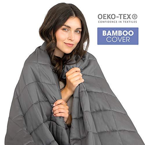 Dreamzie - Gewichtsdecke - 140 x 200 cm - 6 kg - Für Betten 140 - Außenstoff 100% Bambus - Oeko-TEX®