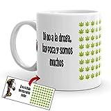 """Kembilove Crea - Tazze da colazione divertenti e divertenti con scritta """"To no a droga, Hay Mucha y amos Pocos - Tazza in ceramica originale da 350 ml - idea regalo"""