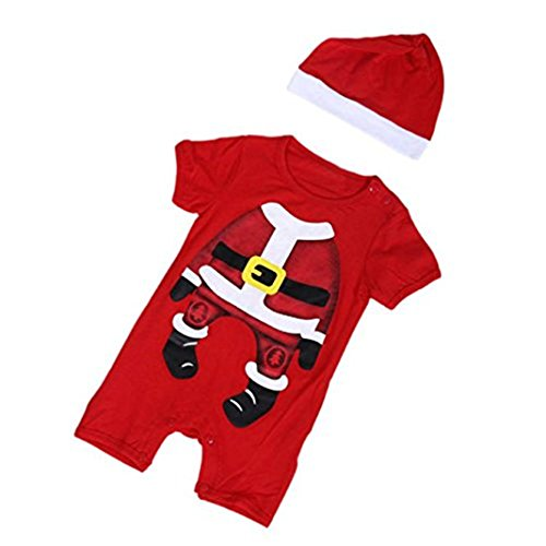 kingko® Nouveau-né de Noël Infant bébé fille de garçon manches courtes Romper Jumpsuit Outfit Vêtements + chapeau (24M, rouge)