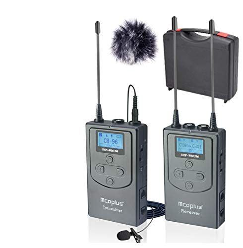 Mcoplus 96 canali UHF Wireless Lavalier Microfono Dual Channel per Smartphone, Canon Nikon Sony Panasonic Videocamere DSLR (1RX+1TX)
