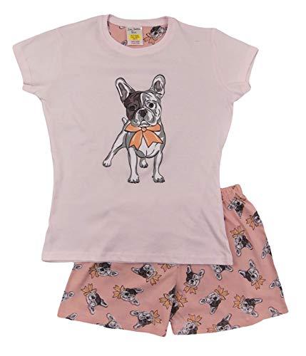 Mädchen Schlafanzug Einhorn Kurz & Lang Pyjama Junge bis Teenager Gr. 9-10 Jahre, Französische Bulldogge Short