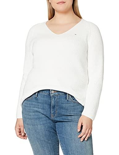 Tommy Hilfiger Damen Hayana V-nk SWTR Pullover, Weiß (Ecru Ybl), XL