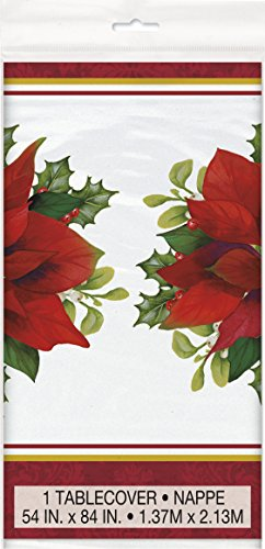 Unique Party 46723 - Plastic Holly Poinsettia Christmas Tablecloth, 7ft x 4.5ft