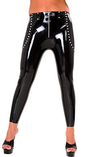 Anita Berg AB4628 - Leggings de látex con remaches, cremallera S, color negro (Ropa)