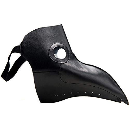 AXIANNV Skulptur Plague Doctors Mask PU-Leder Klar Harz Linsen Schnabel Gesichtsmasken für Halloween Steampunk Kostüm Party Karibik Masken-China-Schwarz