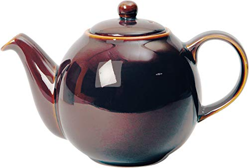 London Pottery Globe Ceramic Teapot with Strainer, 4 Cup (900 ml), Oyster Rockingham