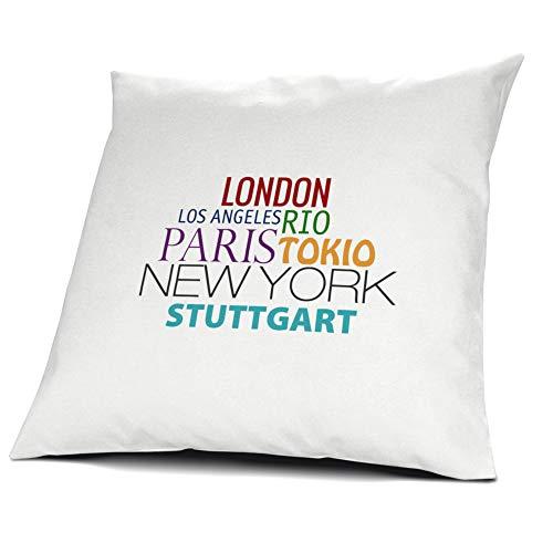 printplanet Kopfkissen Stuttgart, Kissen mit Füllung Famous Cities of The World, 40 cm, 100{b99162e6c969ddaa0b4b65cdbc61f55c574f68f204fe25fdbb63430df2a36e13} Baumwolle, Städtekissen, Souvenir, Geschenkidee