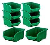 BigDean Stapelboxen Set 8 Stück Grün klein 110x165x75mm - Kunststoff Sichtlagerkasten stapelbar -...
