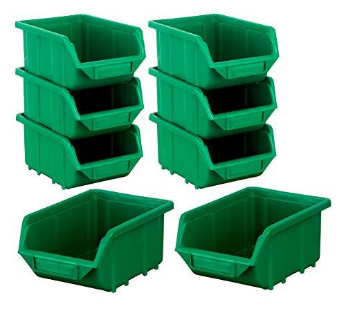BigDean Stapelboxen Set 8 Stück Grün klein 110x165x75mm - Kunststoff Sichtlagerkasten stapelbar - perfekt für Ordnung in Werkstatt & Garage