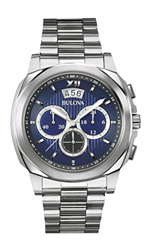 Bulova Classic Vestido Hombre Reloj de Cuarzo con Esfera Analógica Azul Pantalla y Plata Pulsera de Acero Inoxidable 96B219