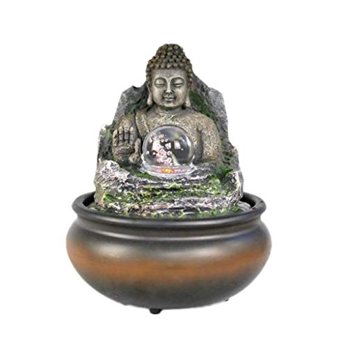 Indoor Fountains Tabletop Fountains Desktop Fountain Lucky Buddha Statue Flowing Water Fountain Rockery Micro Landscape Feng Shui Lucky Desktop Decor Crafts Home Décor Tabletop Indoor Fountain