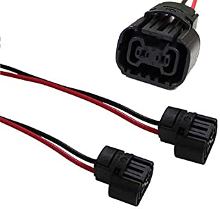 iJDMTOY (2) 5202 2504 PS24W Bulbs Female Connector Wiring Pigtail Harnesses Compatible With Fog Lights/Daytime Running Lamps
