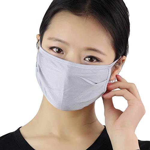 AmyGline Unisex Baumwoll-Maske-Mundschutz,3 Stück,doppelschichtig,Seide,atmungsaktiv,Anti-bakteriell, Sonnenschutz,kälte-und staubdicht,Grau,weiß (3PC, Grau)