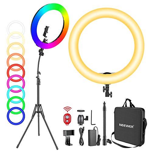 Neewer 18-Zoll RGB Ringlicht mit Ständer, 42W dimmbares zweifarbiges 3200K-5600K CRI95+ LED Ringlicht mit 0-360 Vollfarbe, 9 Spezialszenen Effekt für Selfie/Make-up/Party/Vlog/YouTube-Videoaufnahmen