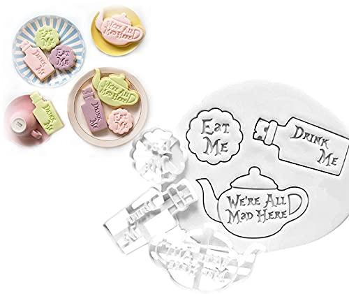 1Set/3PCS Eat Me Drink Me Cookie Mold, Handmade DIY Cookie Cutter Baking Accessories