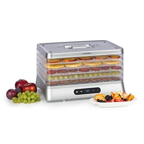 Klarstein Silver Deshidratador de alimentos - Secador automático, 500 W, pantalla LED, 5 estantes de rejilla de plástico, sin BPA, 35-70 °C, temporizador 1-48 horas, plata