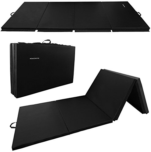 BalanceFrom GoGym All-Purpose 4'x10'x2 Extra Thick High Density Anti-Tear Gymnastics Gym Folding Exercise Aerobics Mats (Black)