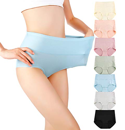 Cauniss Cotton Panties High Waisted C Section Recovery Postpartum Soft Full Coverage Underwear for Women(7 Pack) (multicolor, Medium)