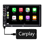 Binize 7 Inch Double Din Apple Carplay,7' Touchscreen Car Stereo Radio/MP5 Player ,Bluetooth/FM/RCA/TF Card/AUX/USB/Remote,Support Backup Camera