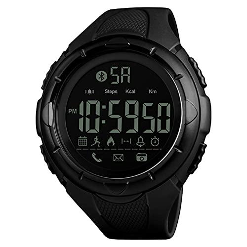 JTTM Los Hombres De Cuarzo Reloj De Pulsera con Alarma Cronómetro Digital Reloj Deportivo Dual Tiempo Zona Cuenta Atrás El Luz De Fondo Calendario Fecha Relojes,Negro