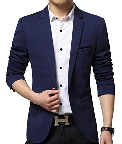 Nemopter Homme Veste Casual Elegant Slim Fit Blazer Un Bouton Costume Jacket Homme Blazer Vestons, Bleu, M