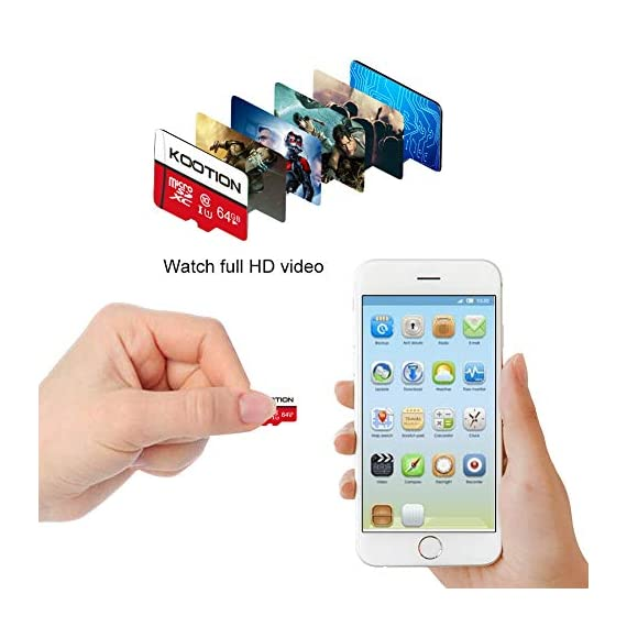 KOOTION 64GB Micro SD Card Class 10 TF Card UHS-1 MicroSDXC Memory Card, U1, C10, High-Speed 64GB TF Card for Smartphone… 4 【Widely Used】The 32 GB micro SD card is perfect for Android smartphones, tablets, digital cameras, game consoles, dash cameras, drones and surveillance system etc; It can use to store or back up high-res photos, videos, documents, music and more. 【Fast Transfer Speed】The TF memory card adopts Speed Class UHS-I(U1) and Class 10(C10) and provides you with 90MB/s of read speed and 25MB/s of write speed, and supports full HD video recording. (The Performance may vary based on host device, interface, usage conditions, and other factors.) 【Reliability & Security】The Micro SD card uses high-quality chip, features water-resistant, anti-magnetic, shockproof, high or low temperature resistant, and always keeps data safe.