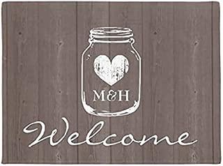 Ailovyo Monogram Custom Rustic Mason Jar Welcome Doormats Cover Rubber Non-Slip Machine Washable Outdoor Indoor Decor Rug (23.6