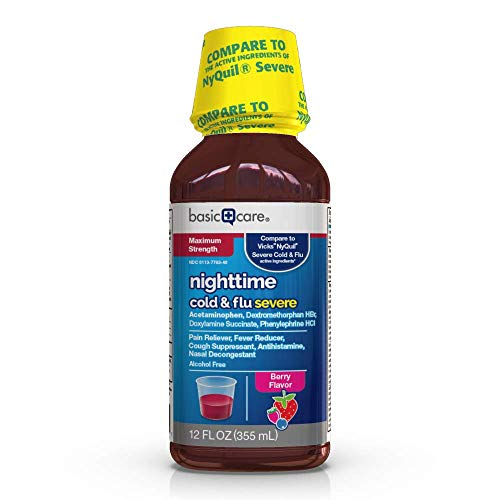 Amazon Basic Care Severe Nighttime Cold and Flu Relief, Berry Flavor, Relieves Headache, Pain, Fever, Runny Nose, Nasal/Sinus Congestion and Sinus Pressure, 12 Fluid Ounces