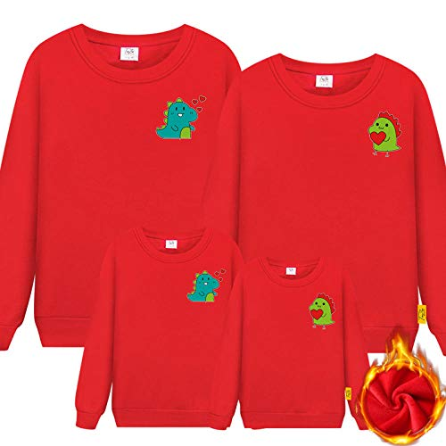 Suéter Mujer,Ropa para Padres e Hijos Primavera Familia Tres o Cuatro Madre-Hijo Madre e Hija Ropa Familiar suéter Rojo de Manga Larga-Rojo_Chico 120