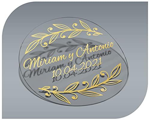 Pegatinas Personalizadas Transparente con Nombre y Fecha, Etiquetas Adhesivas para Invitacion Boda, Bautizo, Compromiso, Cumpleaños, Fiesta, Navidad, Vintage, Sellos (Modelo 4)