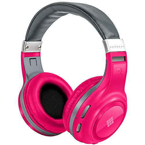Polaroid Dynamic Audio Wireless Headphones - Rechargeable HD Headset with Wired and Wireless Bluetooth Connectivity - Stereo Sound Quality Headphone with Mic for Phone, Laptop, Computer Use (Pink)