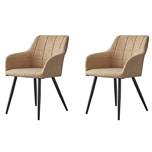 OFCASA 2 x Esszimmerstuhl mit Armlehne 2er Set Beige Schwingstuhl Kunstleder Freischwinger Küchenstuhl Modern Design