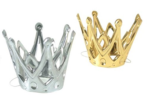 U.S. TOY Dozen Miniature Gold and Silver Party Crowns with Elastic Chin Strap