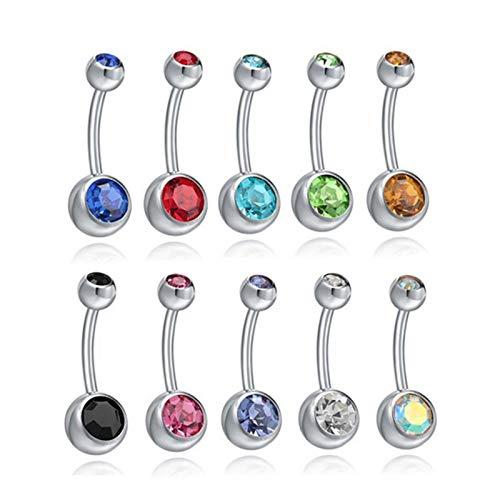 ErNahdasA Único 10 unids Mujeres Quirúrgicos Acero Cristal Zono de Vientre Niño Barra Barra Piercing Body Joyería para decoración (Metal Color : 10 PCS)