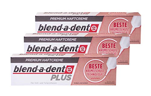 3x Blend-a-dent Plus Premium Haftcreme KRÜMELSCHUTZ 40g für Voll und Teilprothesen